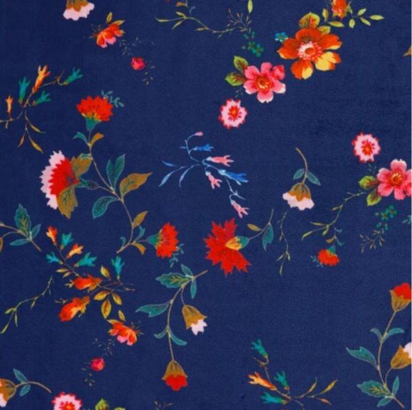 Samtstoff, Flowers dunkelblau