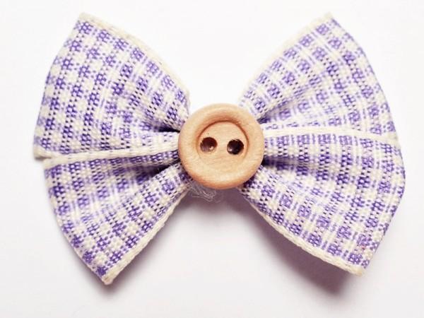 Stoffmasche mit Holzknopf, vichykaro lila