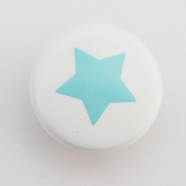 Druckknopf, Stern türkis auf weiß, 10 mm