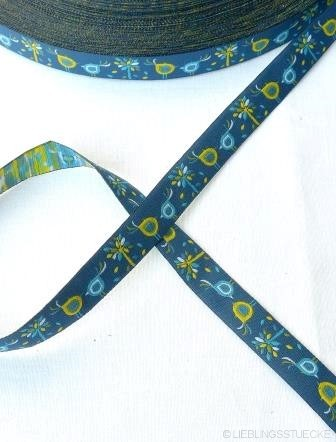 Blattwerk, dunkelblau, Webband *SALE*