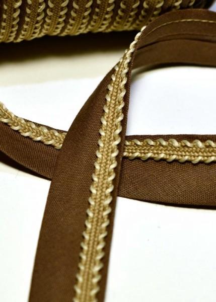 Schrägband mit goldener Borte, braun