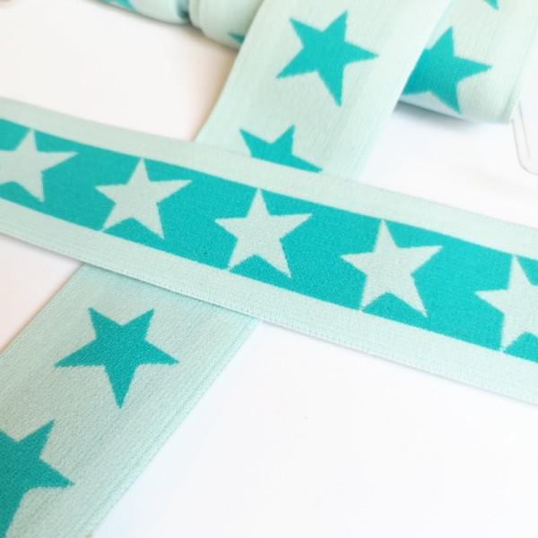 Gummiband breit, Sterne mint