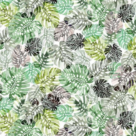 Digitaldruck Monstera Blätter auf weiß, Jersey
