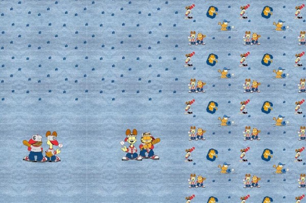 Garfield Paneel, Jeans-Look blau, Bio-Jersey