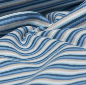 Ringelbündchen blau/sand, gestreift