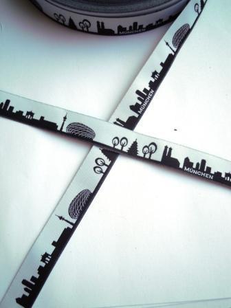 München Skyline, schwarz, Webband