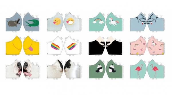 Maskenstoff Animals, für 12 Masken, Paneel, Baumwollstoff, waschbar bei 60°
