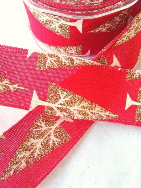 Weihnachtsband Tanne, rot