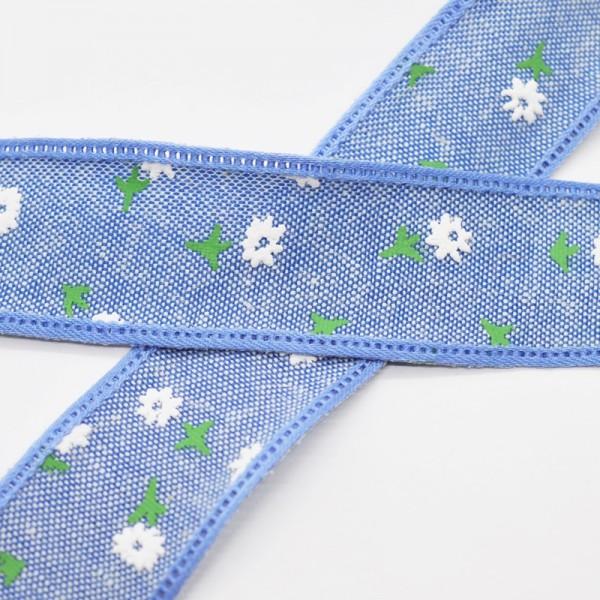 Blumen und Blätter, mittelblau, Baumwollband