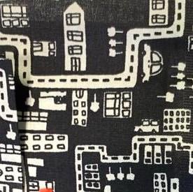 Stadt und Häuser schwarz, Popeline, *Letztes Stück ca. 100 cm*