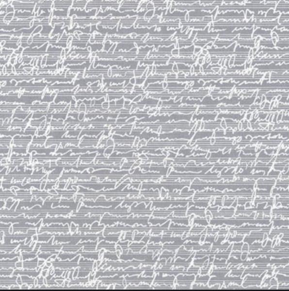 Robert Kaufmann, Chalk&Charcoal Schrift auf hellgrau, Baumwollstoff