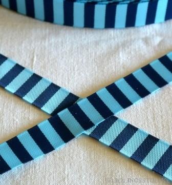 Ringelband, marine-hellblau, Webband beidseitig