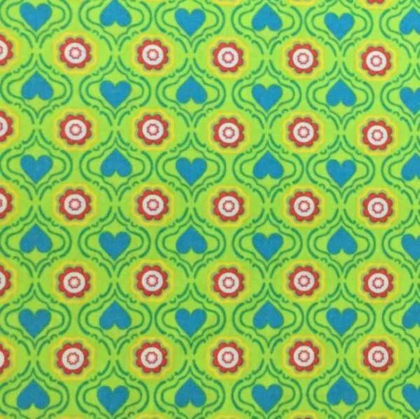Hearts&Flowers hellgrün, Webstoff