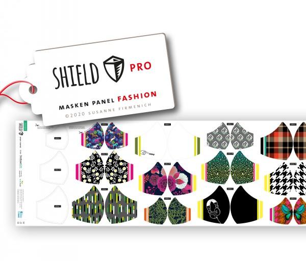 NEU! Maskenstoff Shield Fashion/rund für 12 Masken, Paneel, Trevira-Jersey, waschbar bei 90°