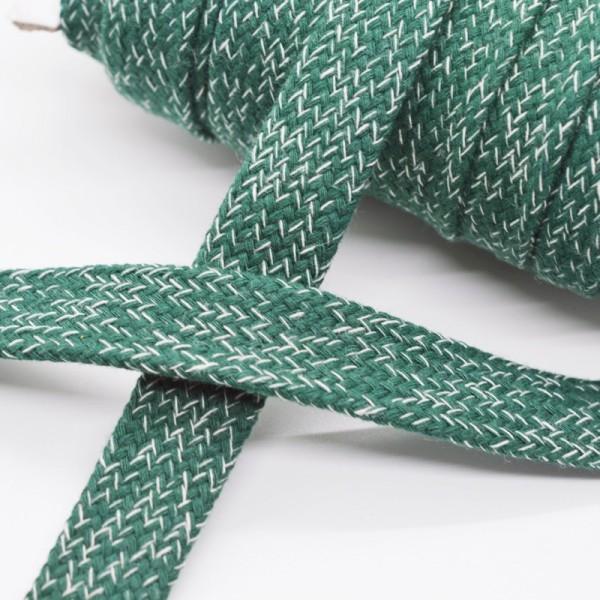 flache Kordel, 15 mm, dunkelgrün meliert