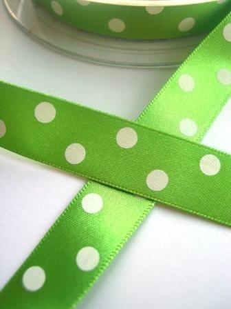 Satinband, polka dots, hellgrün, 15 mm