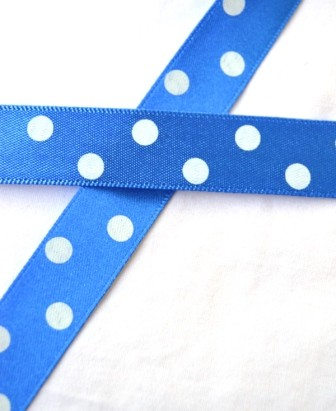 Satinband, polka dots, mittelblau, 15 mm