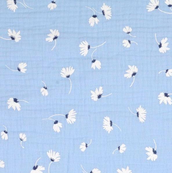 Gipsy Flowers hellblau, Musselin