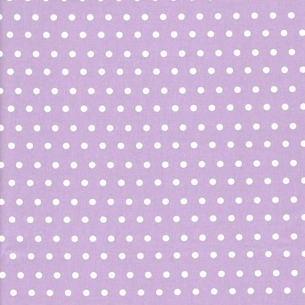 Lili Punkte mittel, weiß auf flieder, Webstoff, waschbar bei 60°