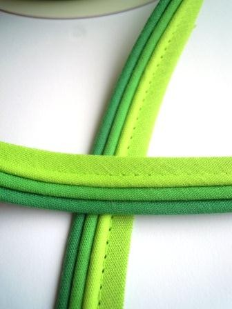 Paspelband, dreifärbig, grün