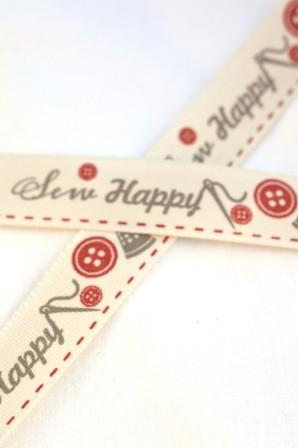 Sew happy, rot, Stoffband