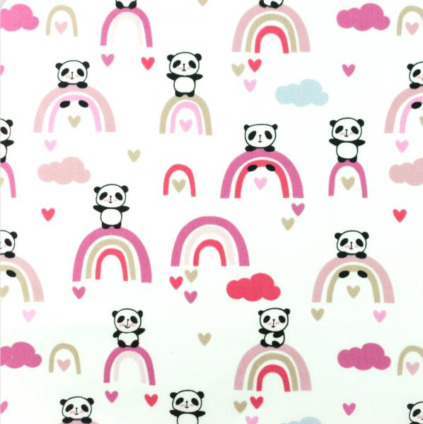 Baumwollpopeline Regenbogen und Panda rosa