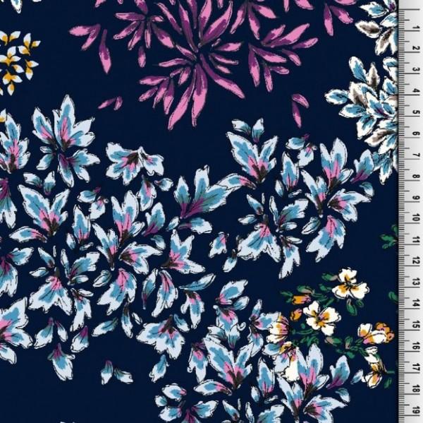 Viskosewebstoff Flower-Power auf dunkelblau