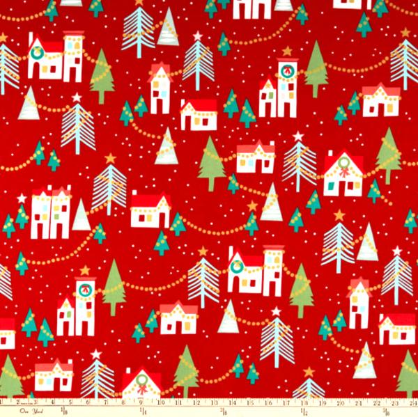 A, Henry Neighbourhood Noel, Häuser rot, Baumwollstoff