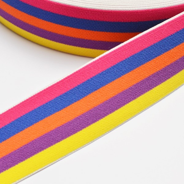 Gummiband breit, Streifen pink-blau-orange