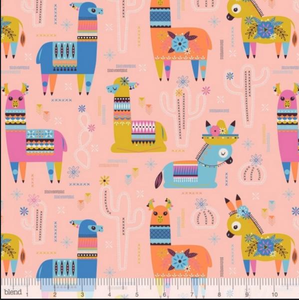 blend fabrics, Fiesta! Lamas rosa, Baumwollstoff