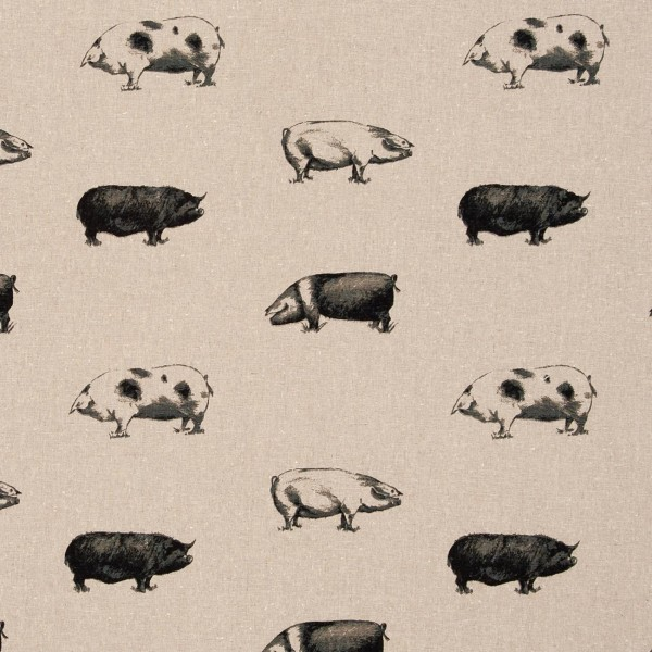 Reinleinen-Dekostoff Pigs Noir