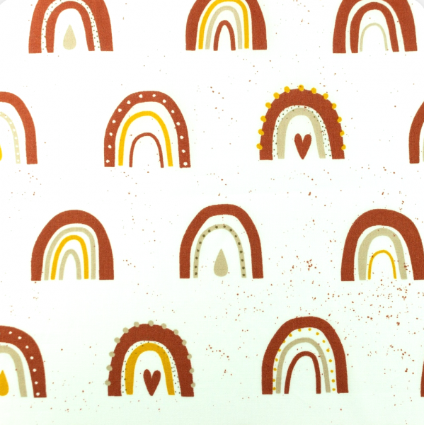 Bio-Double Gauze/Musselin, Regenbogen rost/gelb auf weiß