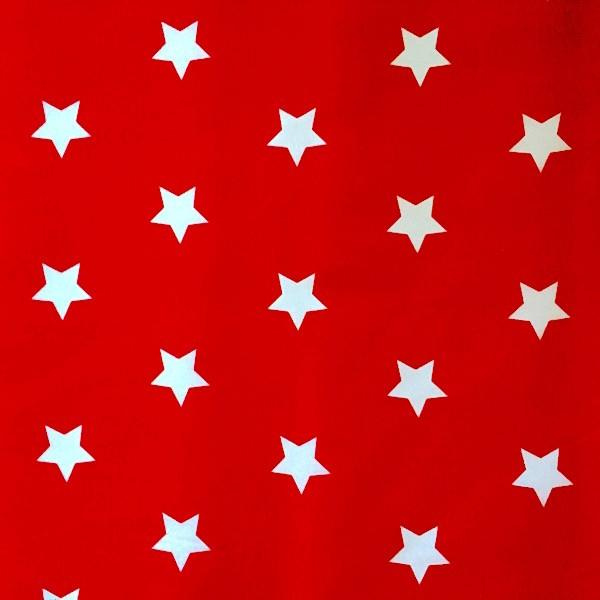 Stenzo Maxi-Sterne weiß auf rot, Popeline
