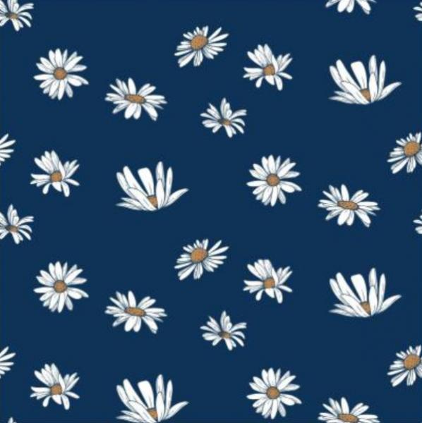 Double Gauze/Musselin, große Blumen dunkelblau