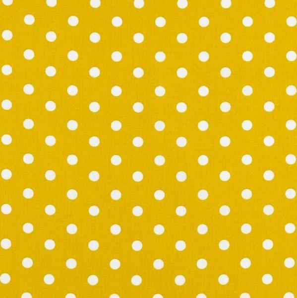 Lili Punkte mittel, auf senfgelb, Webstoff, waschbar bei 60°