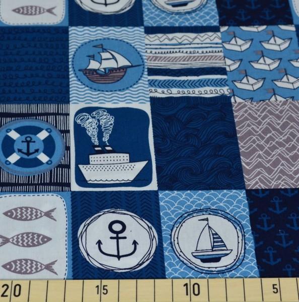 Maritimes Patchwork blau-weiß, Baumwollstoff
