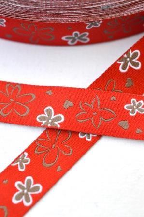 Blüten und Herzen, rot, Webband *SALE*