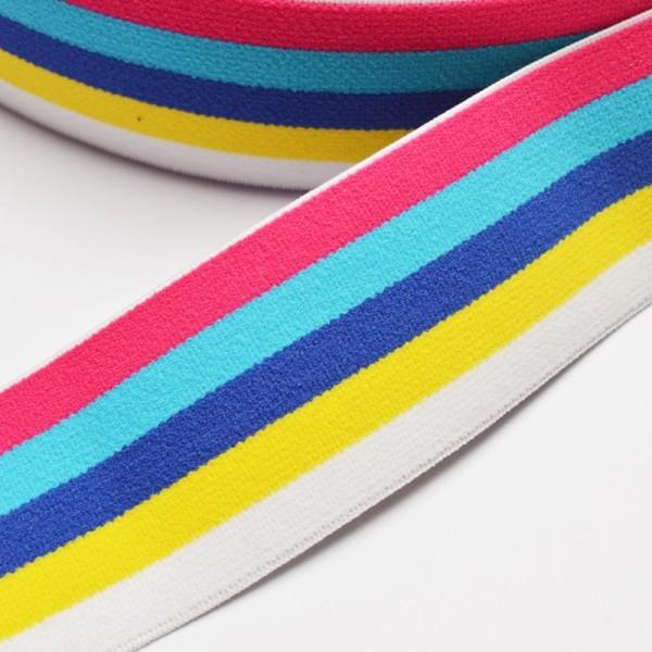 Gummiband breit, Streifen pink-blau-weiß-gelb