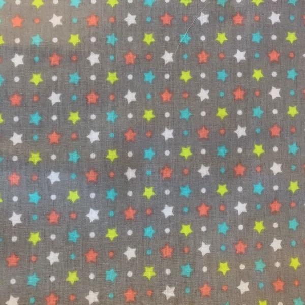 Laminat/Wachstuch, Bunte Sternchen auf grau