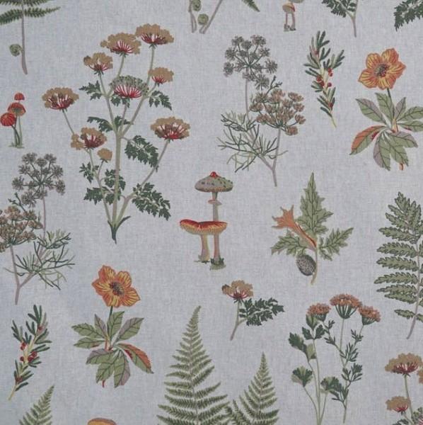 Blumen&Pilze auf leinen, Dekostoff