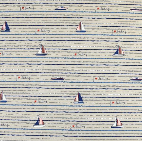 Dekostoff Maritim, I Love Sailing, natur