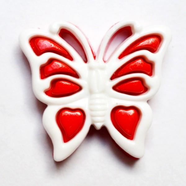 Schmetterling, rot-weiß, Knopf