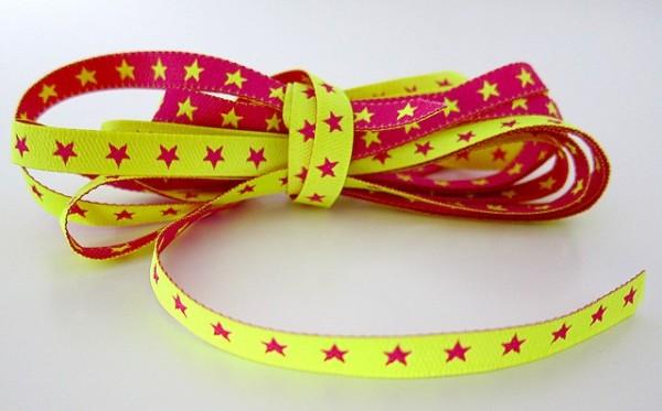 schmales Sternchenband, neongelb-pink, Webband beidseitig