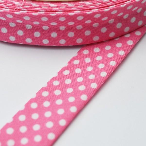 Schrägband, gepunktet, weiß auf rosa