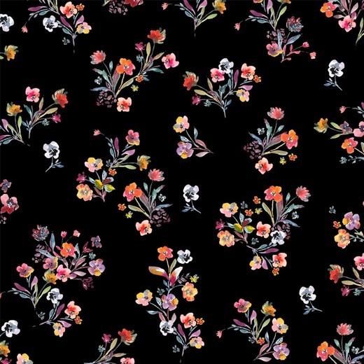 Blumensträusschen auf schwarz, Jersey