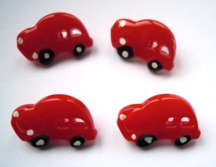 Auto, rot mit schwarzen Reifen, Knopf