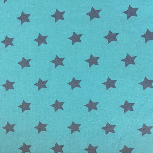 Annika Sterne grau auf türkis, Webstoff