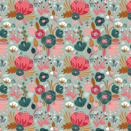 Bio-Jersey, Flower Bouquet, dunkles mint