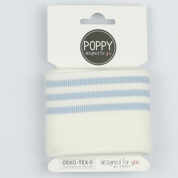 Poppy, Strickbündchen Stripes, offwhite/hellblau, 135 cm