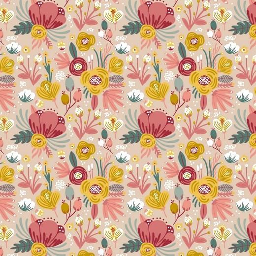 Bio-Jersey, Flower Bouquet, beige